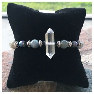 Labradorite & double point crystal quartz bracelet